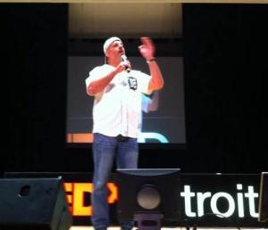 Terry rousing the audience at TEDx Detroit 2011